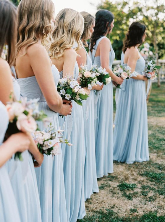 Pale blue bridedmaid gowns | Bespoke Planning and Styling by Helaina Storey Wedding Design | Image by Taylor & Porter