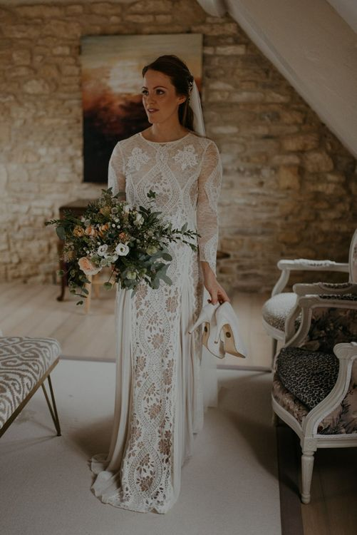Bride in Inca Grace Loves Lace boho wedding dress