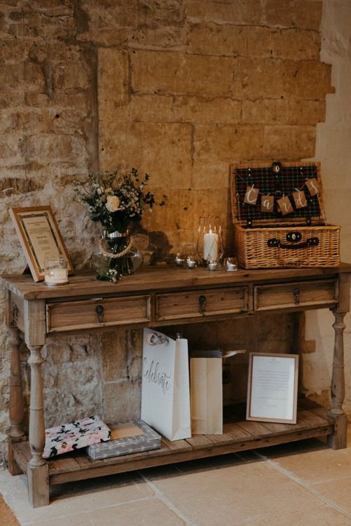 Wooden dresser wedding gifts and card box display table