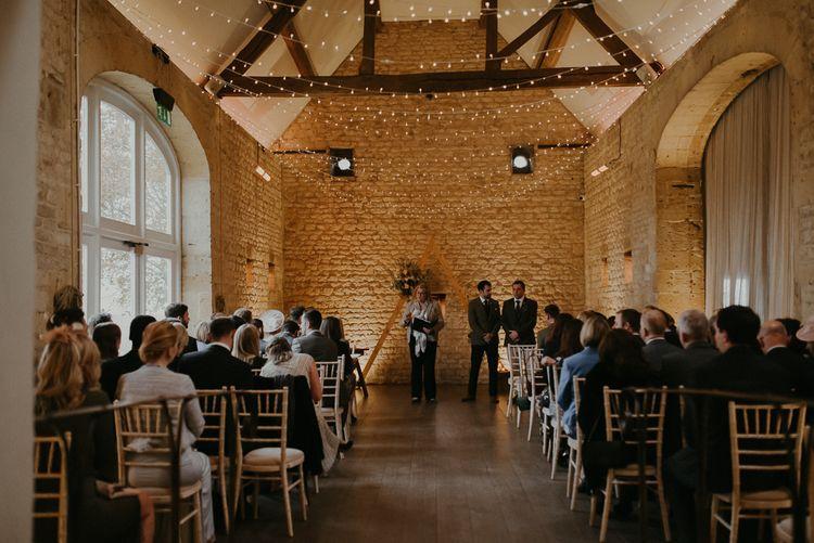 Lapstone Barn wedding ceremony with string lights