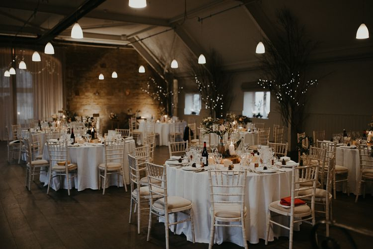 Winter wedding reception at Lapstone Barn