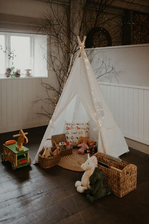 Tipi children's area at Lapstone Barn wedding