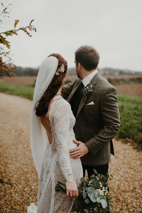 Intimate bride and groom portrait at Lapstone Barn