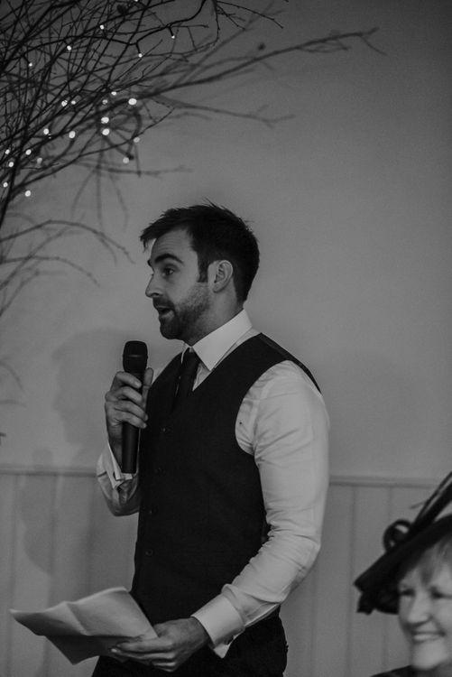 Groom giving a speech at Lapstone Barn wedding