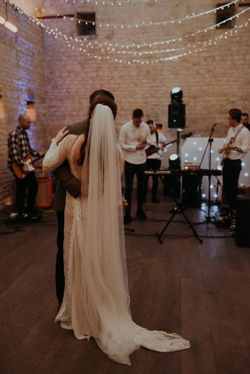 First dance at Lapstone Barn with cathedral length veil