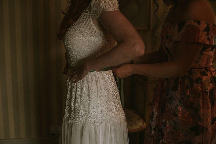 Katya Katya Lace 'Mirabelle' Bridal Gown | Rustic Barn & Tipi Wedding at High House Farm Brewery, Northumberland | Maureen du Preez Photography