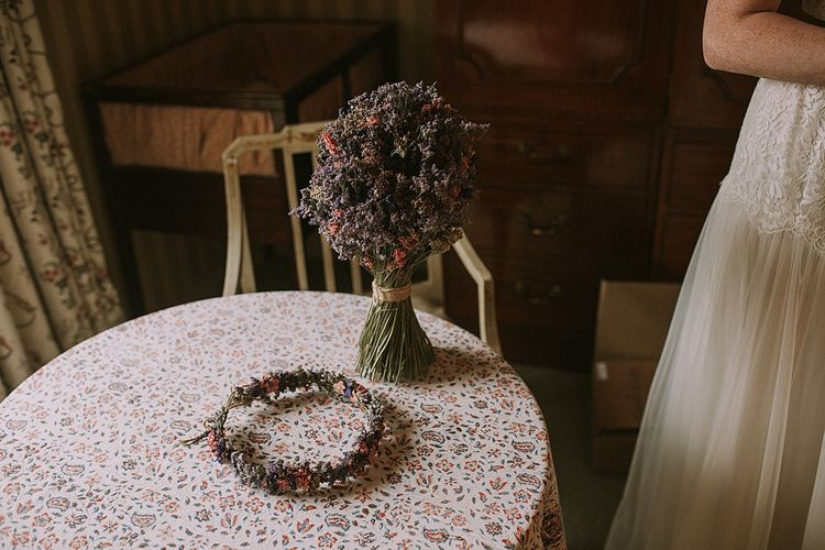 The Artisan Dried Flower Company Crown and Bouquet | Rustic Barn & Tipi Wedding at High House Farm Brewery, Northumberland | Maureen du Preez Photography