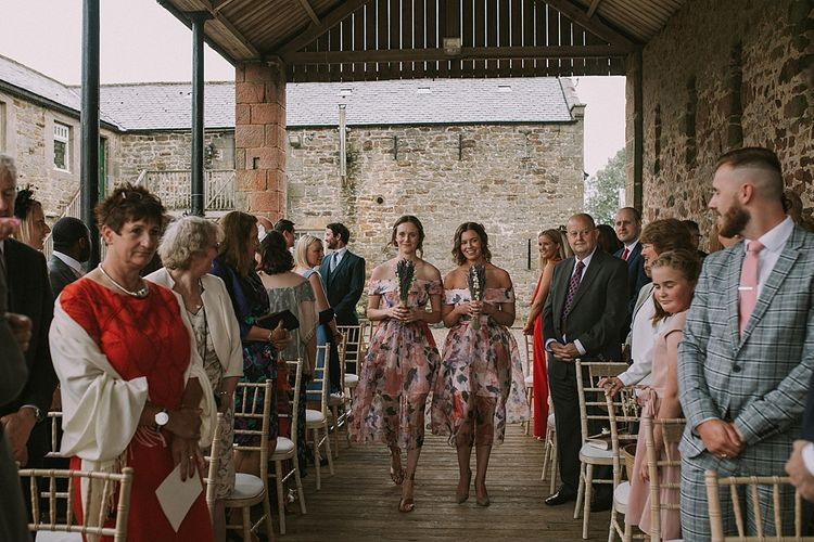 Wedding Ceremony | Bridesmaid Entrance in Floral ASOS Dresses | Rustic Barn & Tipi Wedding at High House Farm Brewery, Northumberland | Maureen du Preez Photography