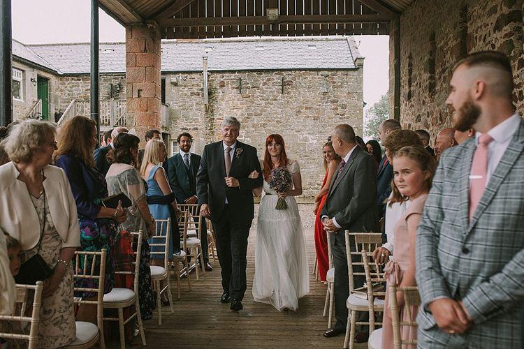 Wedding Ceremony | Bridal Entrance in Katya Katya 'Mirabelle Bridal Gown | Rustic Barn & Tipi Wedding at High House Farm Brewery, Northumberland | Maureen du Preez Photography