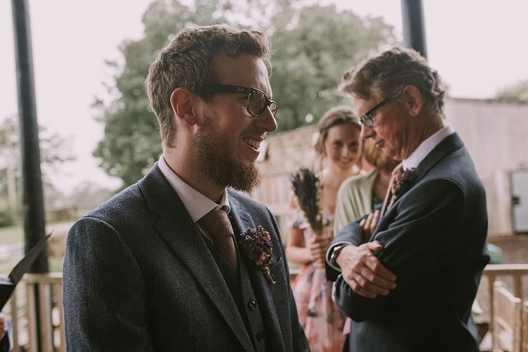 Wedding Ceremony | Groom at the Altar in Reiss Suit | Rustic Barn & Tipi Wedding at High House Farm Brewery, Northumberland | Maureen du Preez Photography