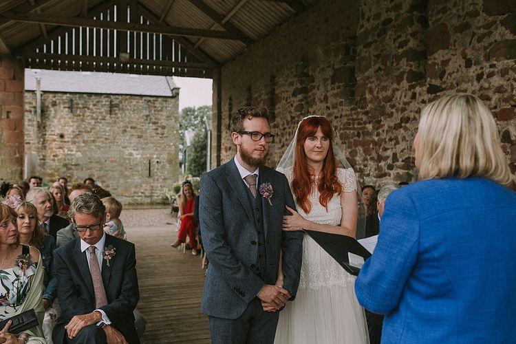 Wedding Ceremony | Bride in Katya Katya 'Mirabelle Wedding Dress | Groom in Reiss Suit | Rustic Barn & Tipi Wedding at High House Farm Brewery, Northumberland | Maureen du Preez Photography