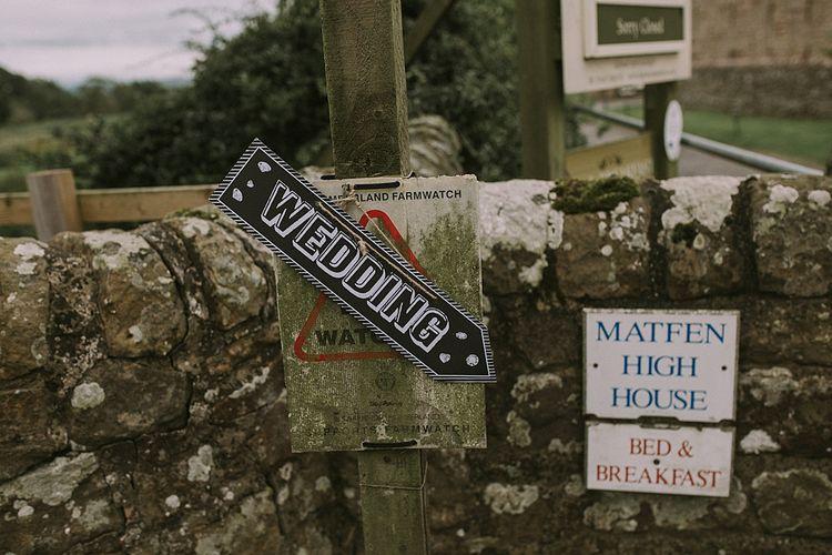 Wedding Sign | Rustic Barn & Tipi Wedding at High House Farm Brewery, Northumberland | Maureen du Preez Photography