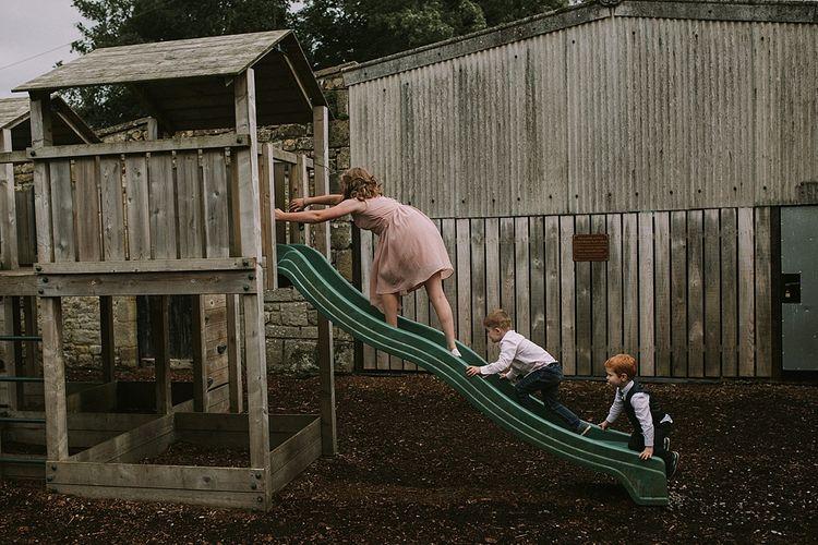 Children Playing | Rustic Barn & Tipi Wedding at High House Farm Brewery, Northumberland | Maureen du Preez Photography