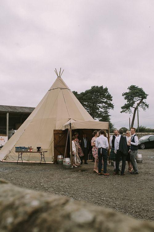 Tipi | Rustic Barn & Tipi Wedding at High House Farm Brewery, Northumberland | Maureen du Preez Photography