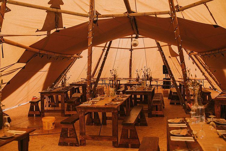 Tipi Reception Decor | Rustic Barn & Tipi Wedding at High House Farm Brewery, Northumberland | Maureen du Preez Photography