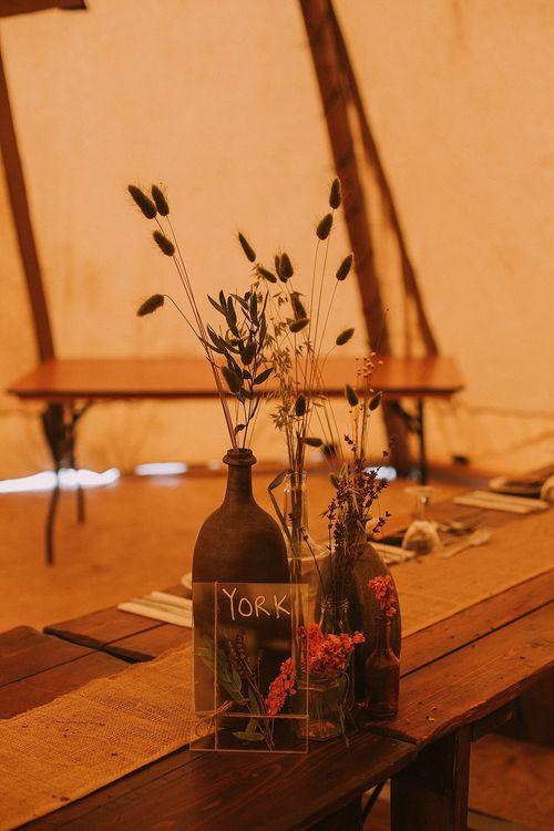 Dried Flower Stems in Bottles | Wedding Decor | Rustic Barn & Tipi Wedding at High House Farm Brewery, Northumberland | Maureen du Preez Photography