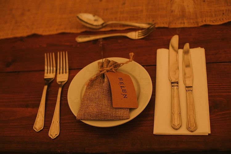 Place Setting with Craft Tag & Burlap Bag Wedding  Favour | Rustic Barn & Tipi Wedding at High House Farm Brewery, Northumberland | Maureen du Preez Photography