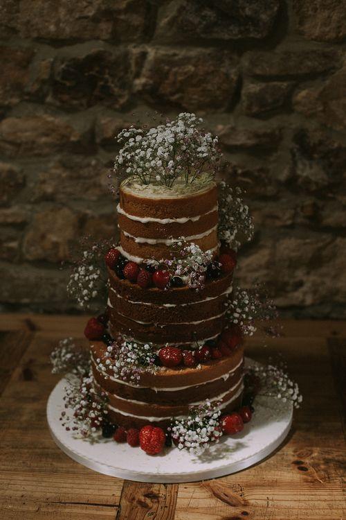Naked Wedding Cake | Rustic Barn & Tipi Wedding at High House Farm Brewery, Northumberland | Maureen du Preez Photography