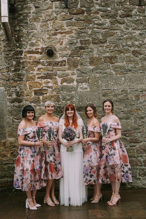 Bridal Party | Bridesmaids in Floral ASOS Dresses | Bride in Katya Katya Mirabelle Wedding Dress | Rustic Barn & Tipi Wedding at High House Farm Brewery, Northumberland | Maureen du Preez Photography