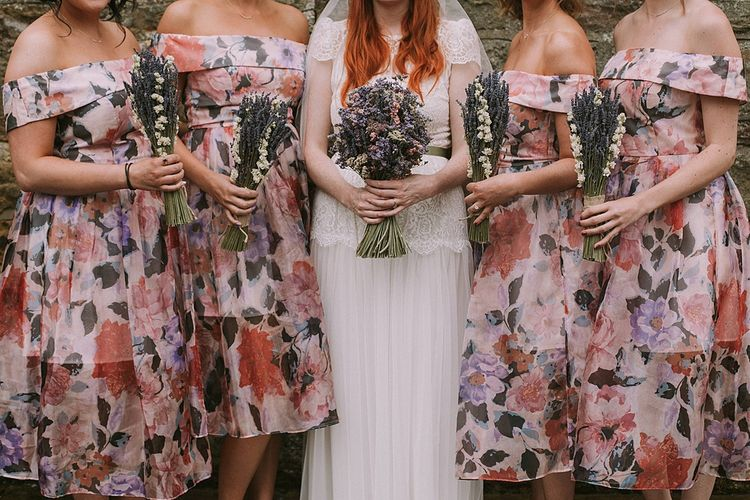 Bridal Party | The Artisan Dried Flower Company Bouquets | Bridesmaids in Floral ASOS Dresses | Bride in Katya Katya Mirabelle Wedding Dress | Rustic Barn & Tipi Wedding at High House Farm Brewery, Northumberland | Maureen du Preez Photography