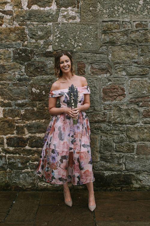 Bridesmaid in Floral ASOS Dress | Rustic Barn & Tipi Wedding at High House Farm Brewery, Northumberland | Maureen du Preez Photography