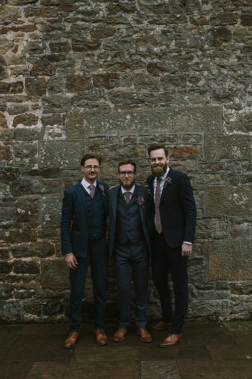 Groomsmen in Reiss Suits | Rustic Barn & Tipi Wedding at High House Farm Brewery, Northumberland | Maureen du Preez Photography
