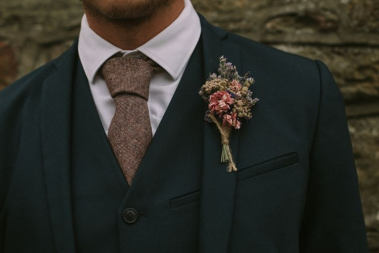 The Artisan Dried Flower Company Buttonhole | Groom in Reiss Suit | Rustic Barn & Tipi Wedding at High House Farm Brewery, Northumberland | Maureen du Preez Photography