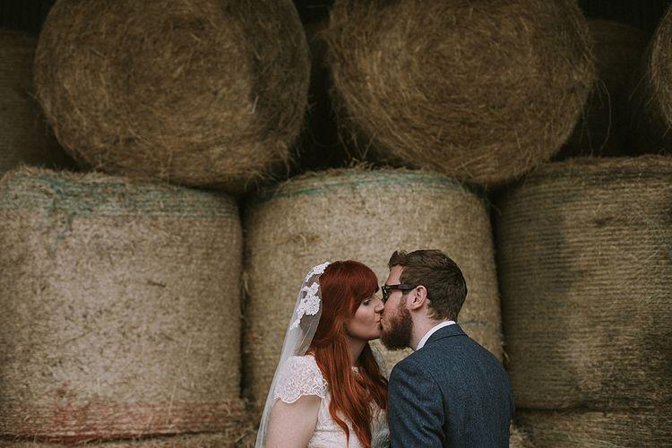 Bride in Katya Katya 'Mirabelle Wedding Dress | Groom in Reiss Suit | Rustic Barn & Tipi Wedding at High House Farm Brewery, Northumberland | Maureen du Preez Photography