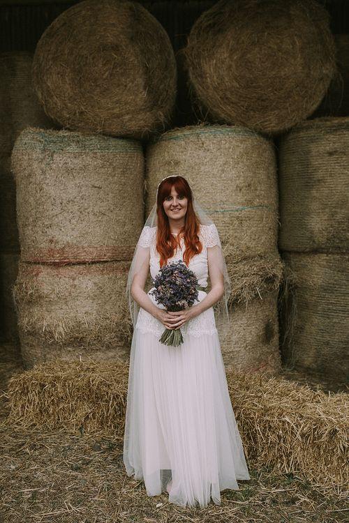 Bride in Katya Katya 'Mirabelle Wedding Dress | Rustic Barn & Tipi Wedding at High House Farm Brewery, Northumberland | Maureen du Preez Photography