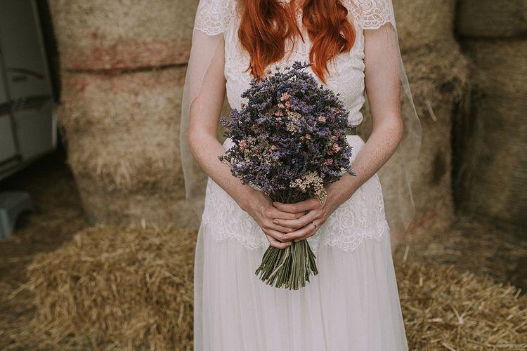 The Artisan Dried Flower Company Bouquet | Bride in Katya Katya 'Mirabelle Wedding Dress | Rustic Barn & Tipi Wedding at High House Farm Brewery, Northumberland | Maureen du Preez Photography