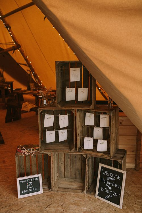 Wooden Crate Table Plan Wedding Decor | Rustic Barn & Tipi Wedding at High House Farm Brewery, Northumberland | Maureen du Preez Photography