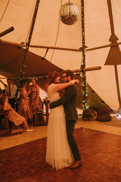 First Dance | Bride in Katya Katya 'Mirabelle Wedding Dress | Groom in Reiss Suit | Rustic Barn & Tipi Wedding at High House Farm Brewery, Northumberland | Maureen du Preez Photography