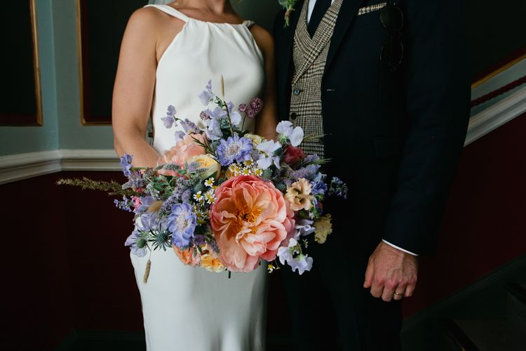 Colourful Wildflower Bridal Bouquet with Peony