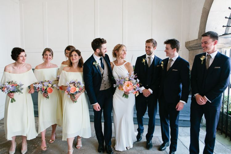 Wedding Party Portrait with Bridesmaids in White Dresses