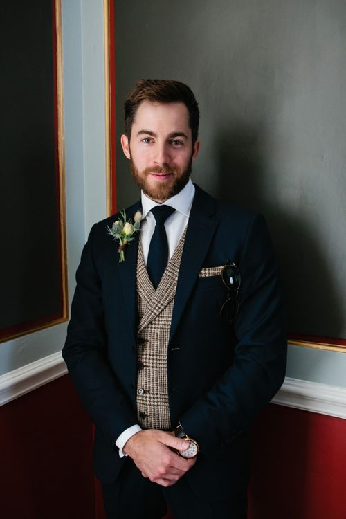 Groom in Jack Bunney's Suit with Plaid Waistcoat