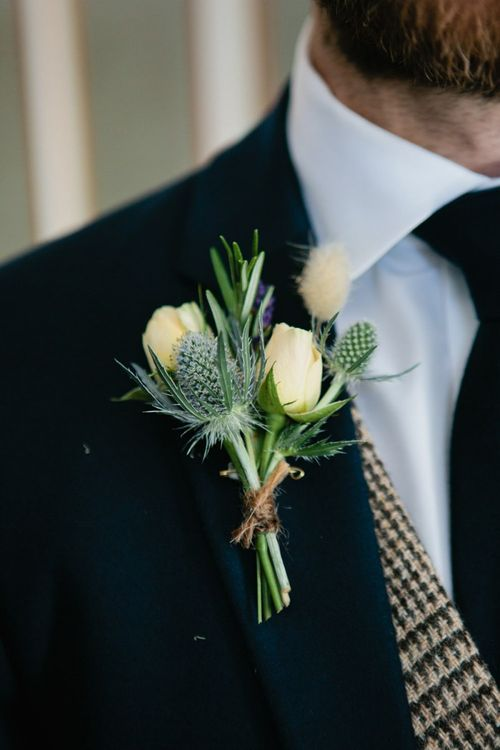 White Rose and Thistle Buttonhole