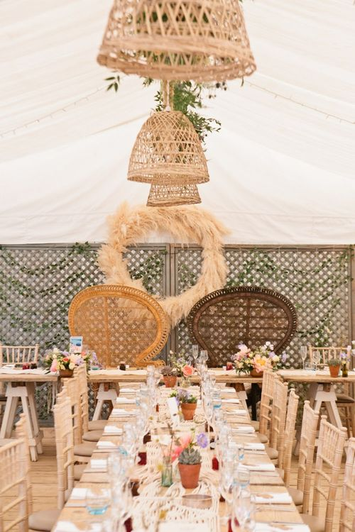 Peacock Chairs, Pampas Grass Hoop, and Rope and Wicker Lamp Shade Installation Wedding Reception Decor