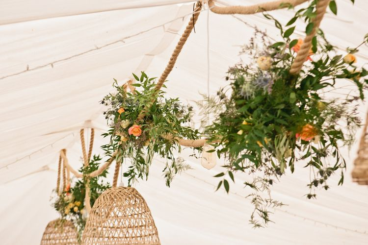 Rope and Wicker Lamp Shade Hanging Installation with Wild Flowers