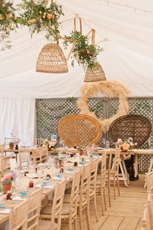 Trellis, Peacock Chairs and Pampas Grass Hoop Top Table Backdrop