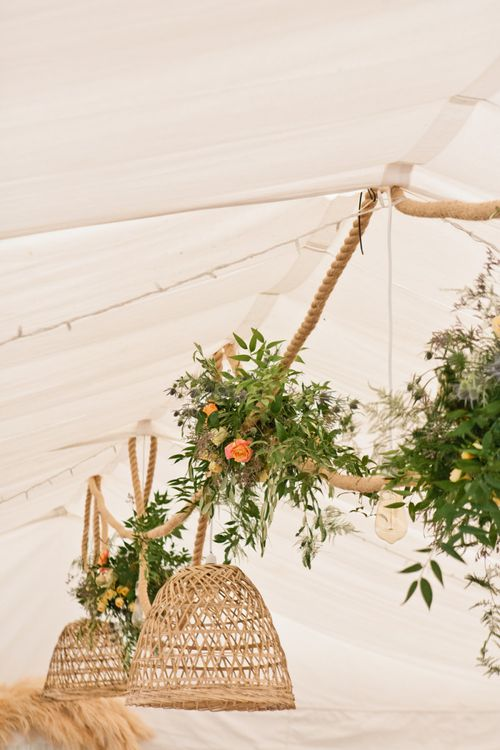 Hanging Installation with Rope, Wicker Lampshades and Wildflowers