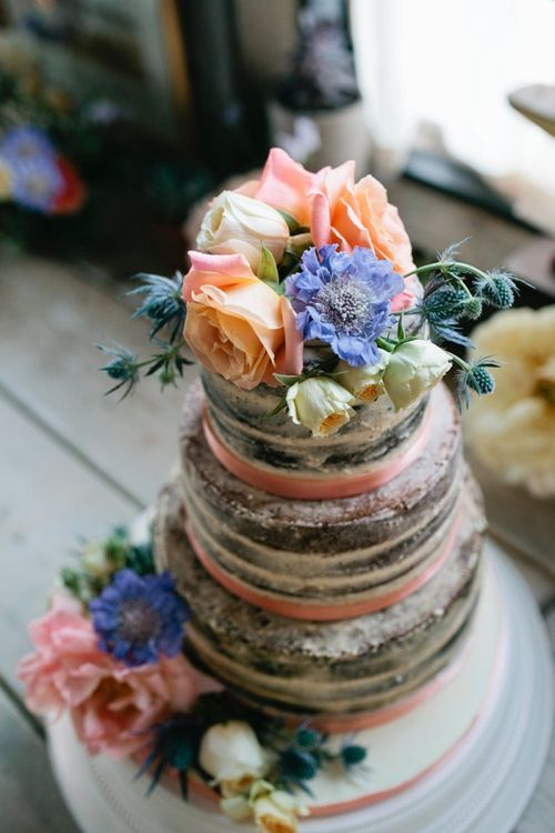 Semi Naked Wedding Cake with Flower Topper