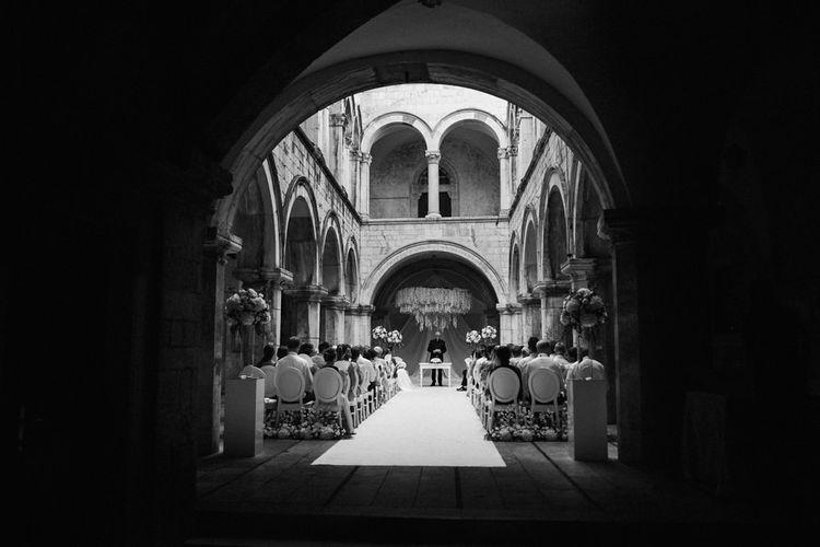 Black and White Portrait of Wedding Ceremony Altar at 16 Century Palace in Croatia