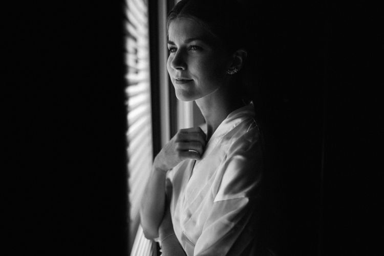 Black and White Portrait of Bride on the Wedding Morning