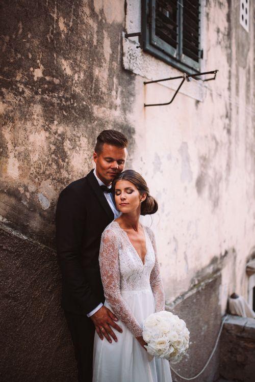 Bride and Groom in Black Tie Wedding Fashion