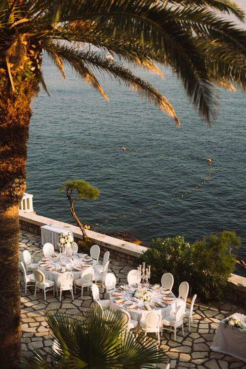 Outdoor Wedding Reception Overlooking the Dalmatian Coast in Croatia