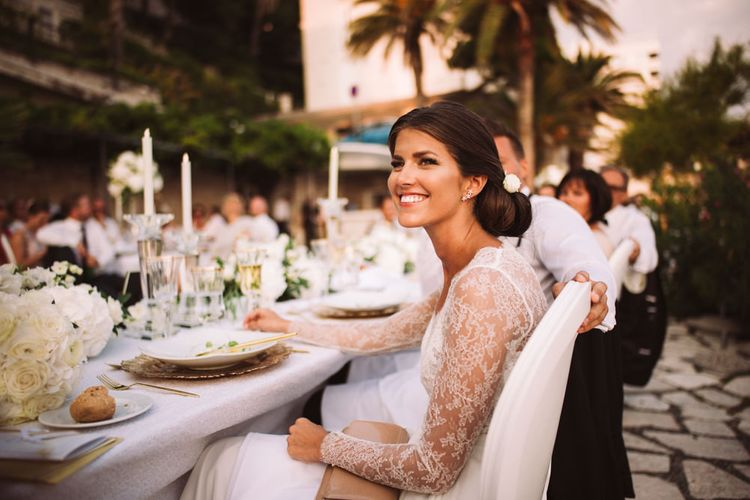 Beautiful Bride with Natural Makeup, Chic Bridal Up Do and Long Lace Sleeve Wedding Dress