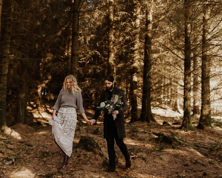 Natural Woodland Highland Bride Inspiration at Loch Lomond, Scotland | Needle & Thread Floral Dress | Oversized Bridal Bouquet | Lyndsey Anne Photography