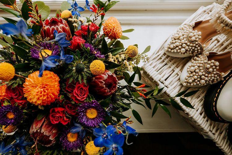 Brightly Coloured Wedding Bouquet with Dahlias
