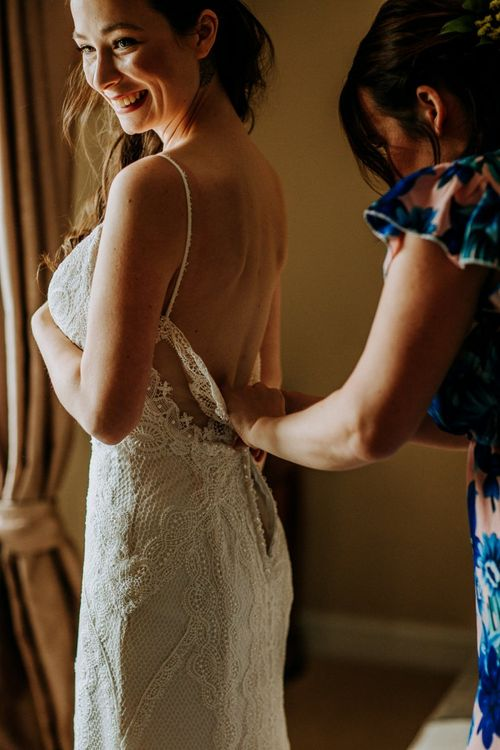Wedding Morning with Bride in a Lace Sottero & Midgley Wedding Dress