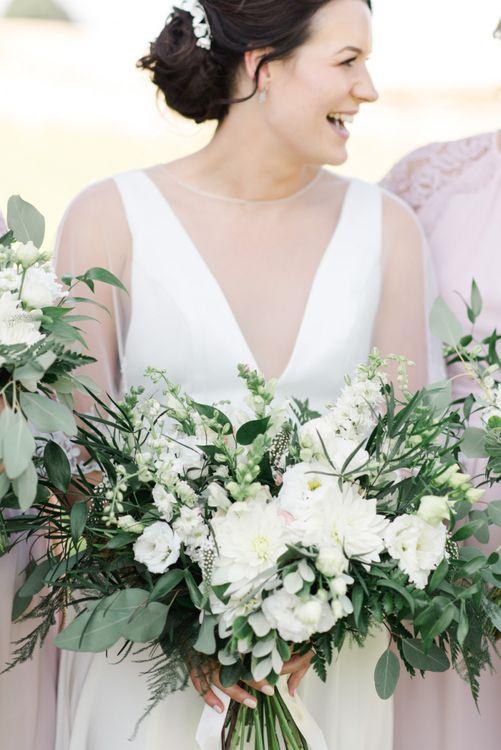White wedding flowers for barn wedding